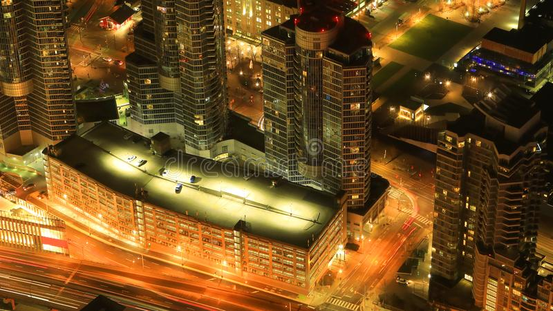 Aerial of Toronto roadways at night. An aerial of Toronto roadways at night stock photography