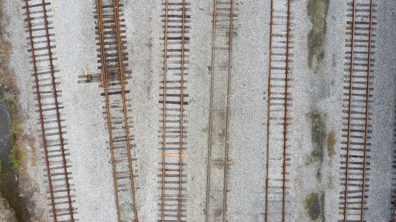 Aerial train tracks royalty free stock images