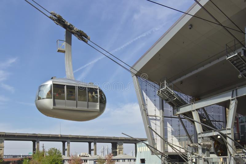 Aerial tram descending at the station Portland OR. royalty free stock image