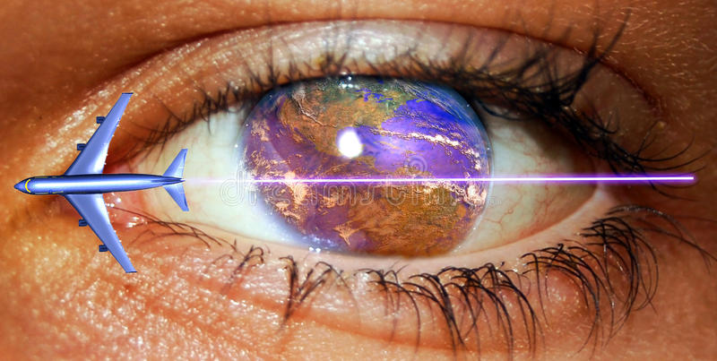 Aerial transport. Close view to an eye from which cornea is the Earth with the American continent, and a passengers plane crossing the image over it. An abstract royalty free illustration