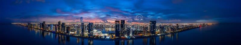 Aerial Twilight Panorama Miami Dade Sunny Isles Beach FL USA. Beautiful deep saturated vibrant colors blue and purple royalty free stock photo