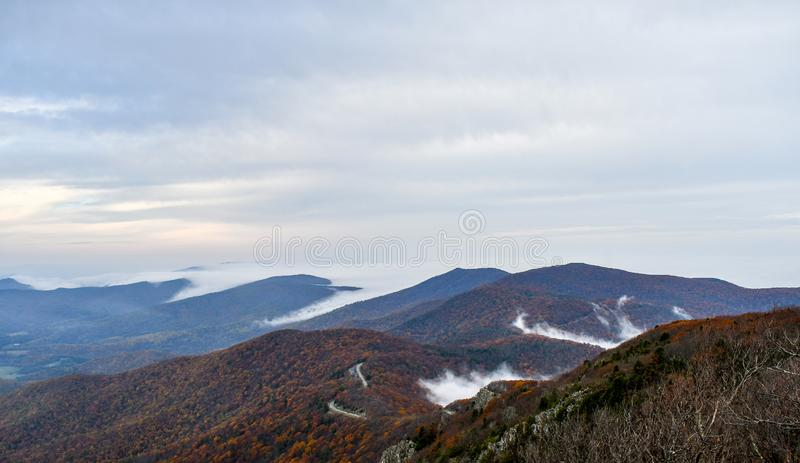 Aerial twilight panorama of mountain forests in autumn colors stock photography