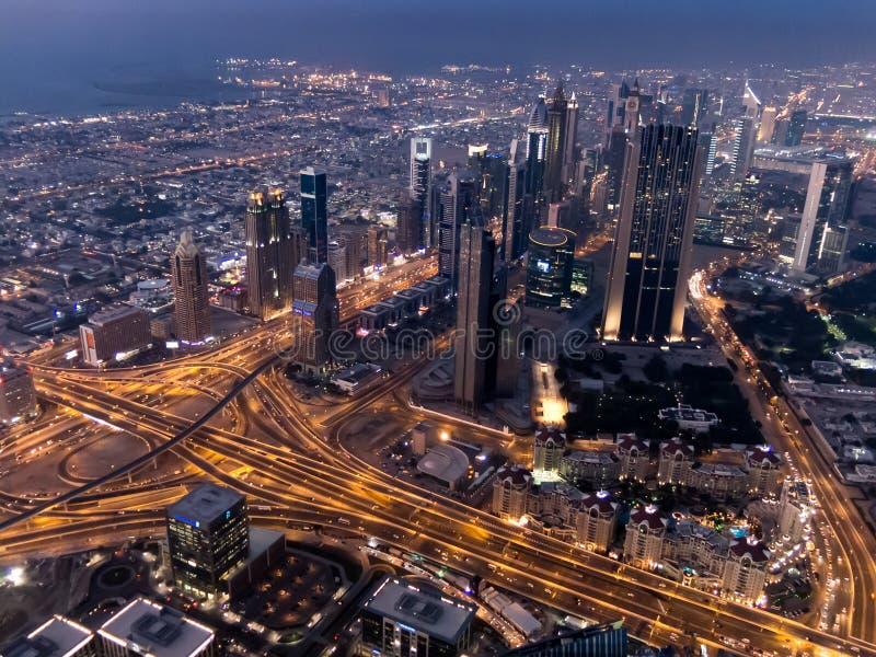 Aerial twilight view of downtown Dubai from Burj Khalifa stock photo