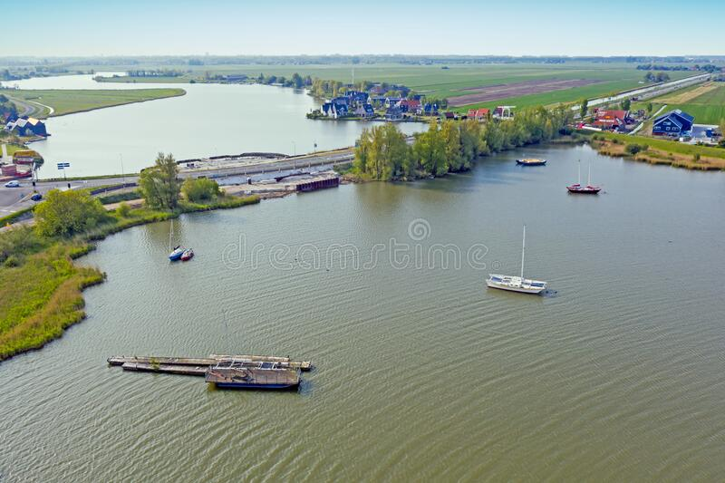Aerial from a typical dutch landscape in the countryside from the Netherlands royalty free stock photo