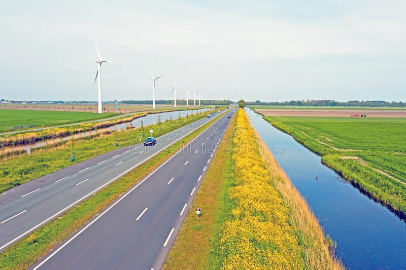 Aerial from a typical dutch landscape in the countryside from the Netherlands stock photo