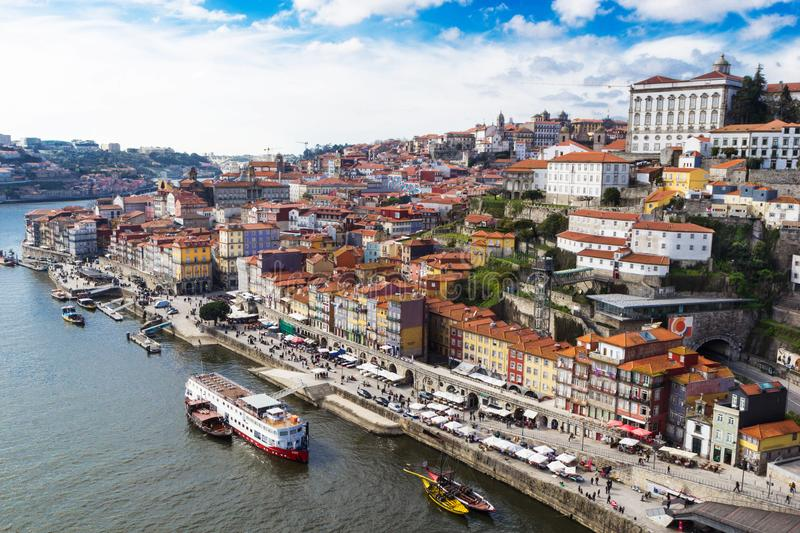 Aerial v iew of historic city of Porto, Portugal stock photo