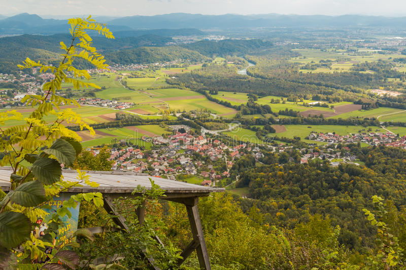 Aerial valley view. View from Mount Saint Mary to village Smartno, Sava river and Ljubljana surroundings royalty free stock photography