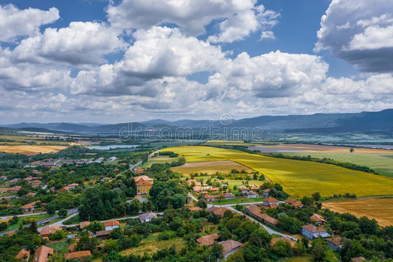 Aerial veiw of Bulgarian village and countryside stock images