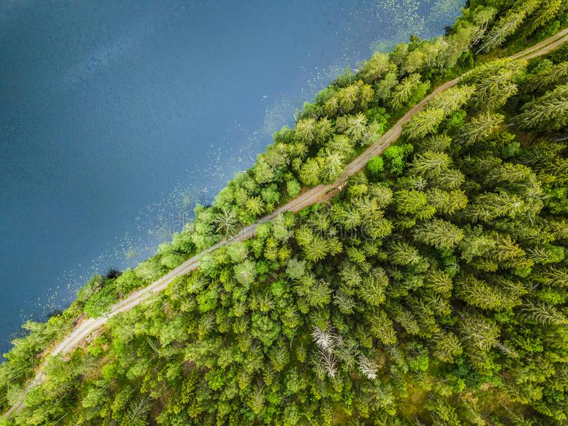 aerial veiw of empty road in green forest with the blue lake. drone shot royalty free stock image