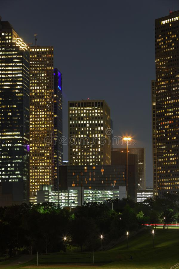 Aerial vertical ground shot of Downtown Houston Texas at night. USA stock image