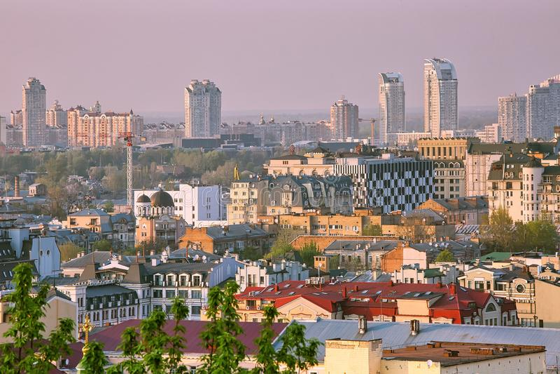 Aerial vew to Podil district of Kiev, Ukraine.  royalty free stock photos