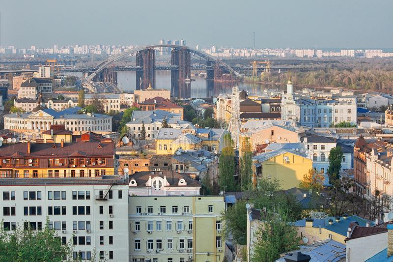 Aerial vew to Podil district of Kiev, Ukraine.  stock images