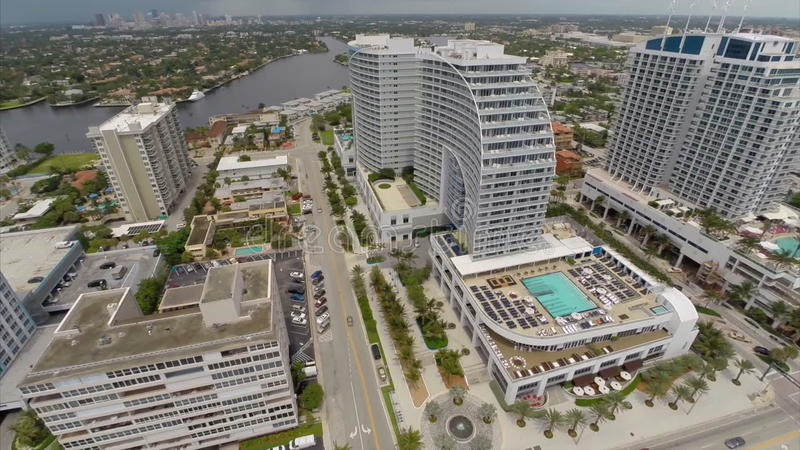 Aerial video Fort Lauderdale highrise architecture. Stock aerial video of Fort Lauderdale Florida USA stock footage