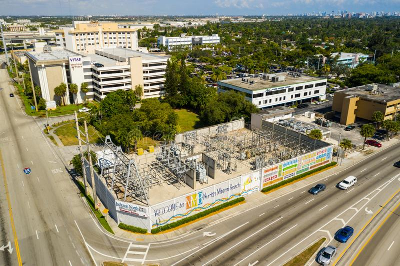 Aerial video North Miami Beach welcome sign power plant. USA stock images