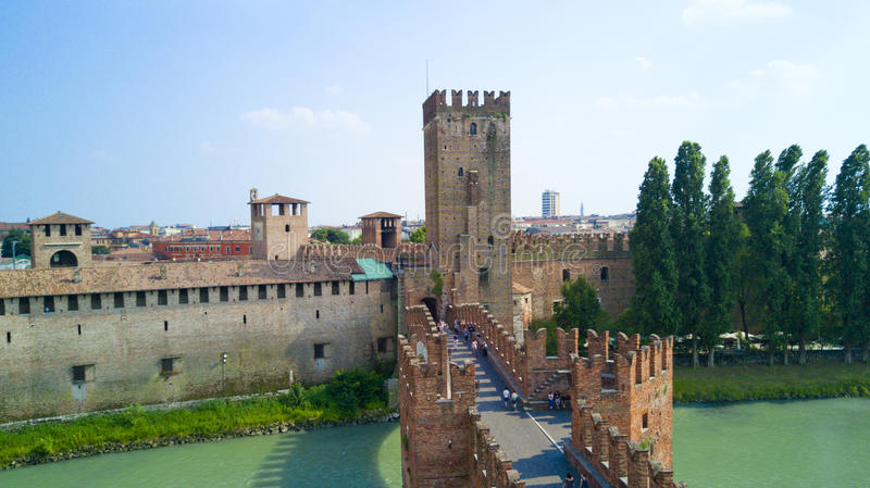 Aerial video shooting with drone of Verona. City on the Adige river in Veneto famous for Romeo and Juliet a Shakespeare's play, has been awarded World royalty free stock images