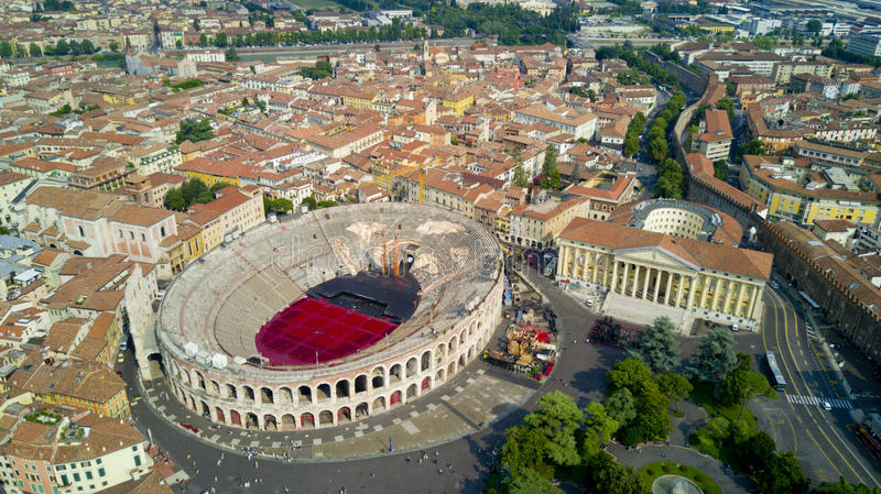Aerial video shooting with drone of Verona. City on the Adige river in Veneto famous for Romeo and Juliet a Shakespeare's play, has been awarded World royalty free stock photos