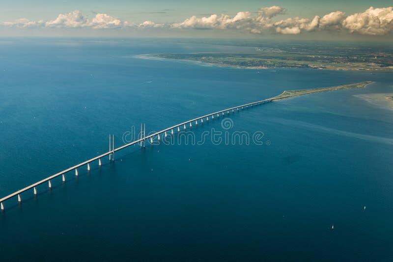 Aerial view of Øresund Bridge in the baltic sea. Aerial view of Øresund Oresund Bridge the link between Denmark and Sweden stock photography