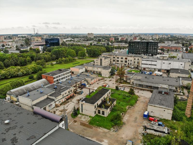 Aerial view abandoned industrial buildings in Kaunas, Lithuania stock photo