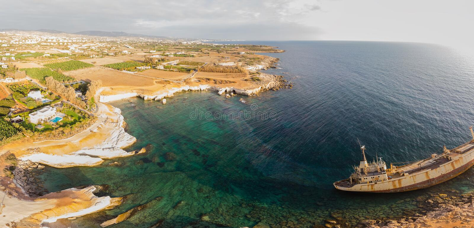 Aerial view of the abandoned ship EDRO III in Pegea, Paphos, Cyprus. royalty free stock photo
