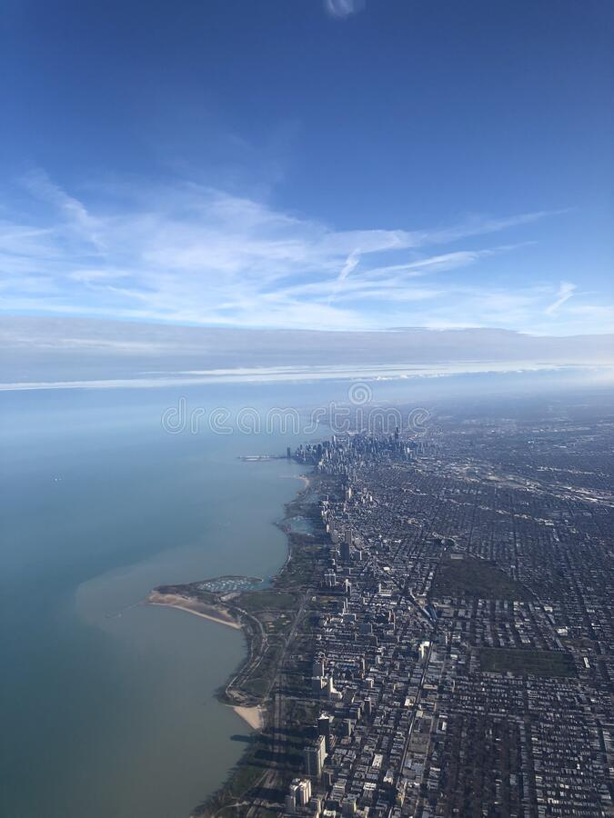 Aerial view above Chicago downtown business district stock image