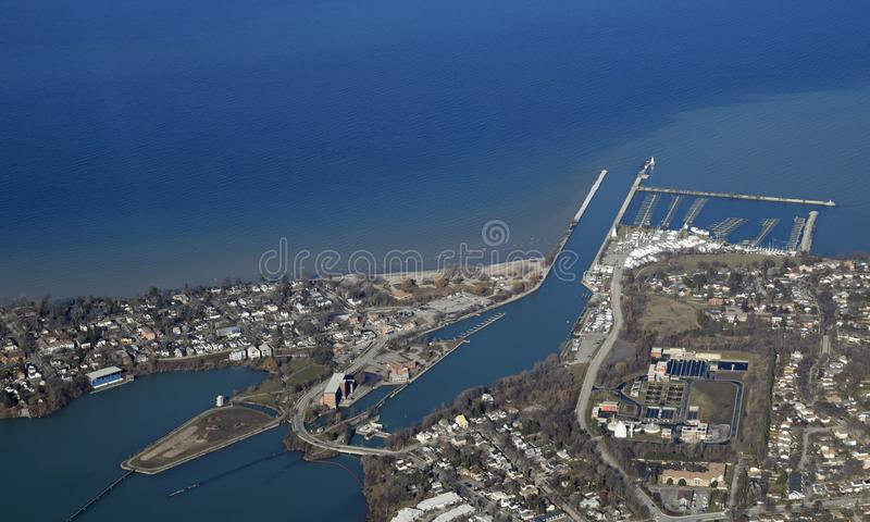 Port Dalhousie aerial. Aerial view from above the St Catharines near Port Dalhousie ON Canada stock images