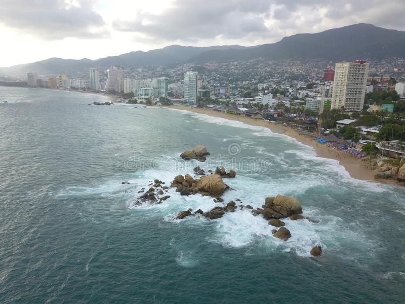 Aerial View of Acapulco Bay royalty free stock photos