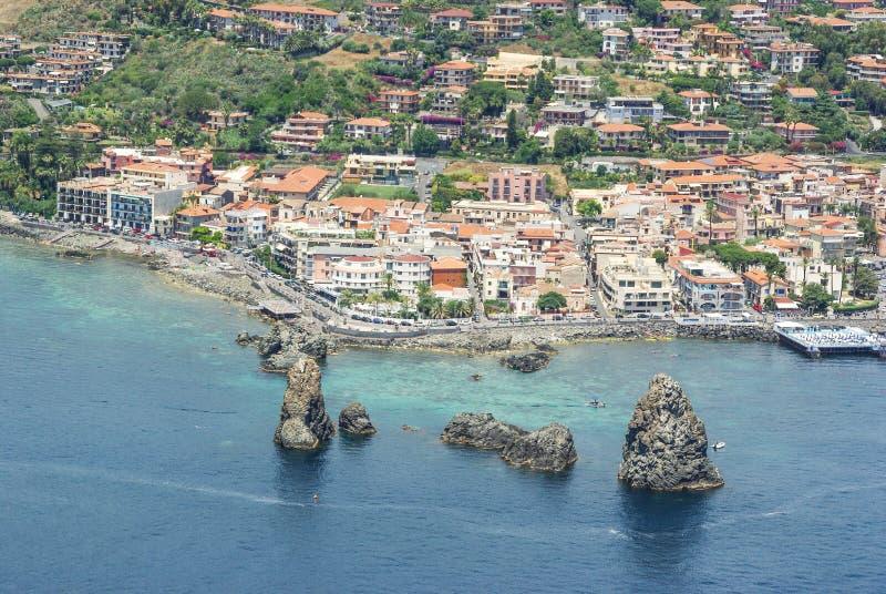 Aerial view of Aci Trezza stock photos