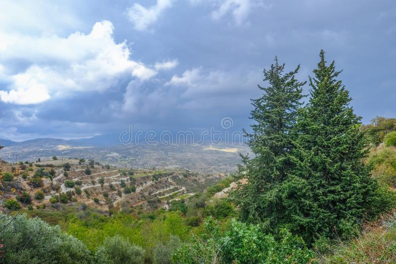Aerial view across rural countryside in the wine growing region. Of Cyprus. Stormy day shot taken in early afternoon royalty free stock images