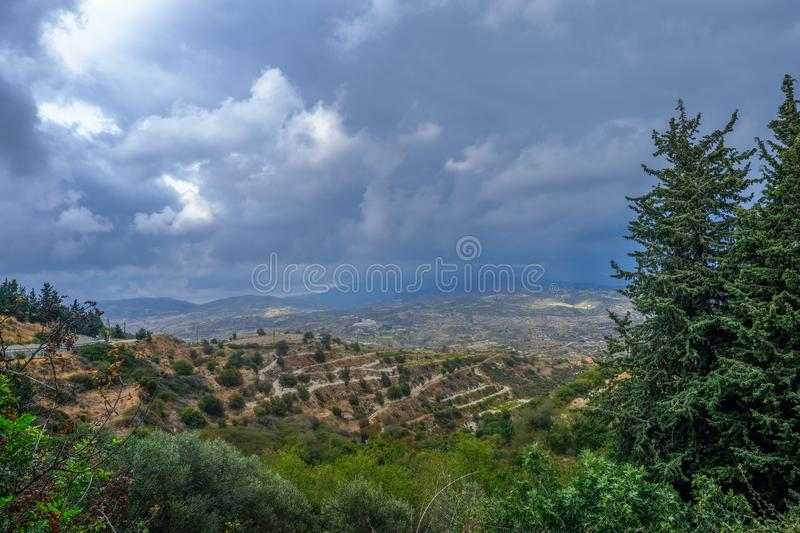 Aerial view across rural countryside in the wine growing region. Of Cyprus. Stormy day shot taken in early afternoon stock photography