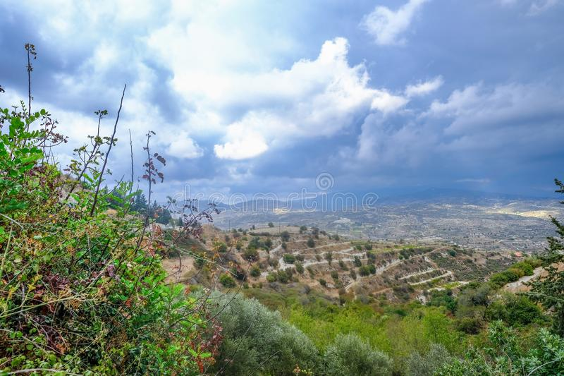 Aerial view across rural countryside in the wine growing region. Of Cyprus. Stormy day shot taken in early afternoon stock photo