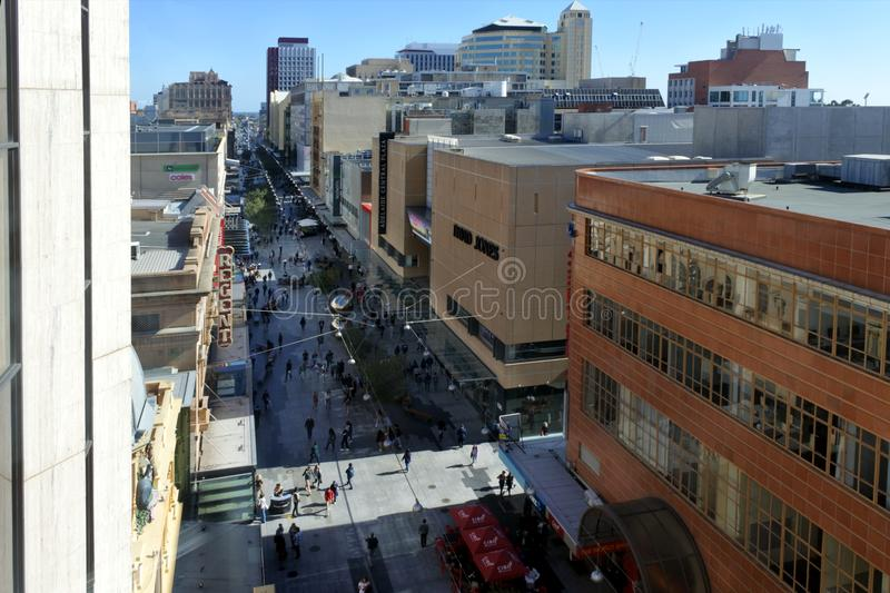 Aerial view of Adelaide city downtown above Rundle Mall pedestrian street stock photos