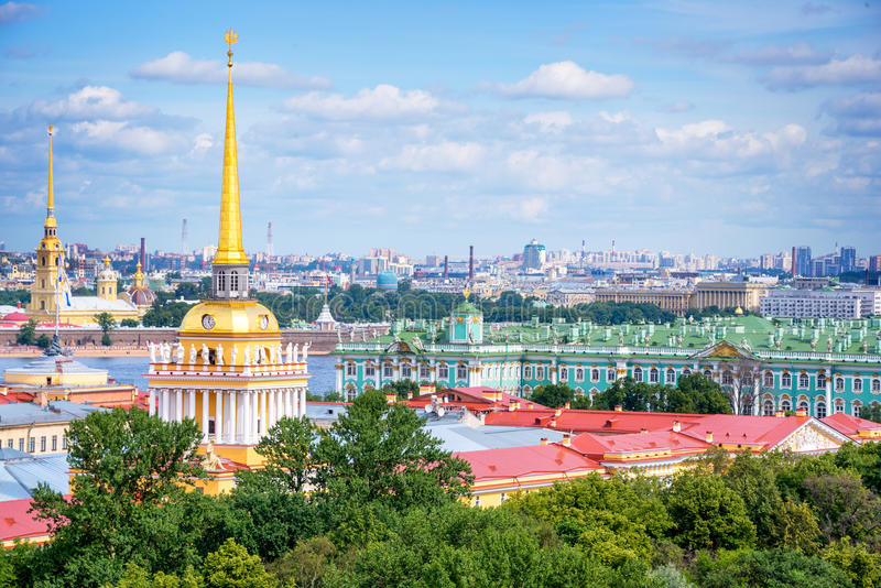 Aerial view of Admiralty tower and Hermitage, St Petersburg, Russia. Aerial view of Admiralty tower and Hermitage in St Petersburg, Russia royalty free stock photography