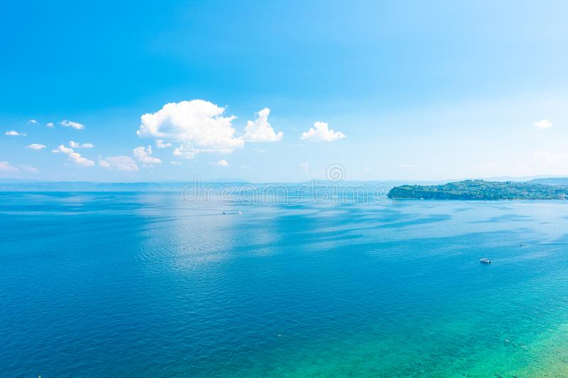 Aerial view of Adriatic sea ner the Piran city, Slovenia. Look from high tower to sea and land of Italy. Blue water and sky, royalty free stock image