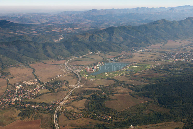 Aerial view - Aerial view of highway Hemus in Bulgaria stock photography