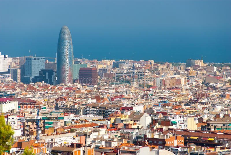 Aerial view of the Agbar Tower. In Barcelona Spain royalty free stock image