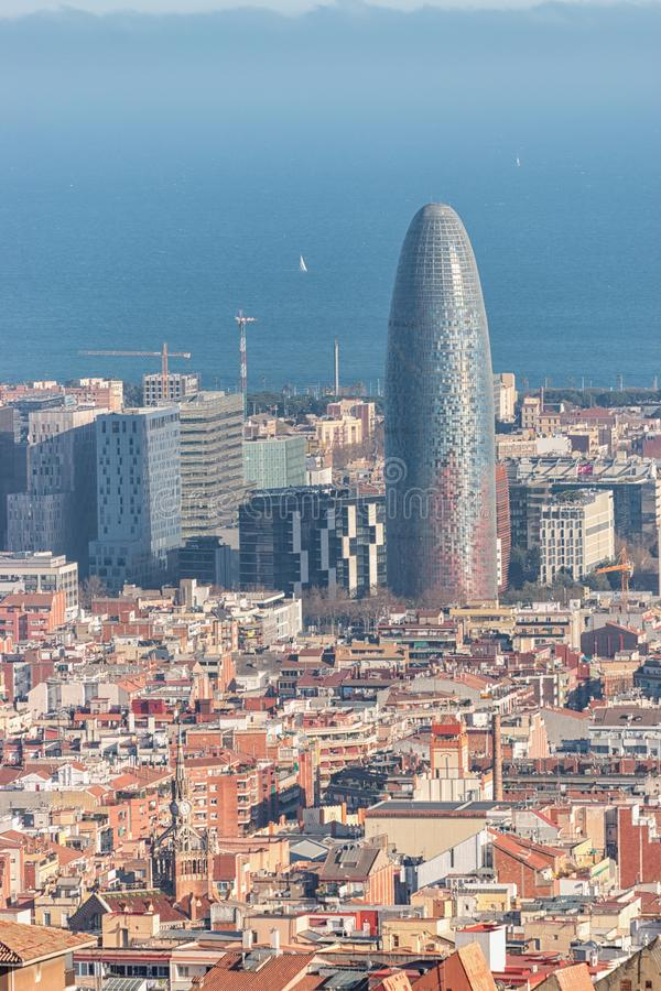 Aerial view of the Agbar Tower in Barcelona. Spain.  stock photos