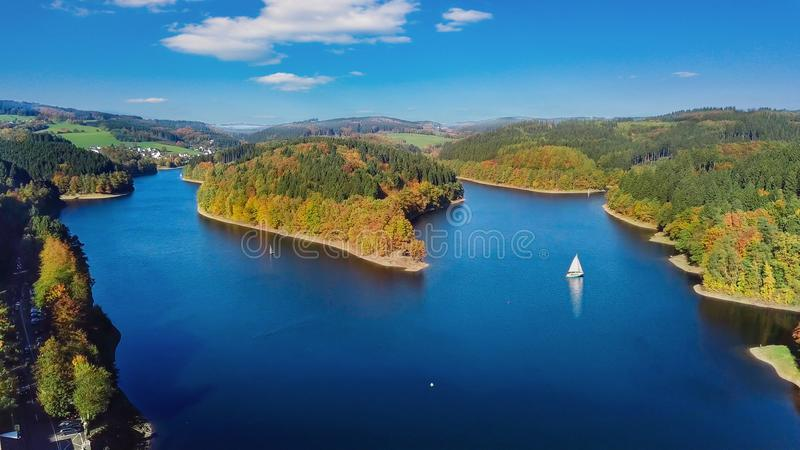 Aerial view of the agger dam Aggertalsperre in Gummersbach. royalty free stock photography