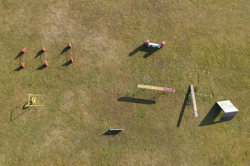 Aerial view of an agility dog course. Without animals royalty free stock photography