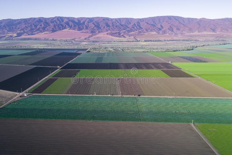 Aerial view of agricultural fields in California, United States. Salinas valley royalty free stock image