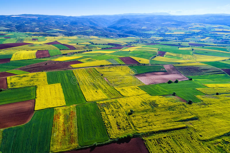 Aerial view of agricultural land with blooming in northern Greece stock images