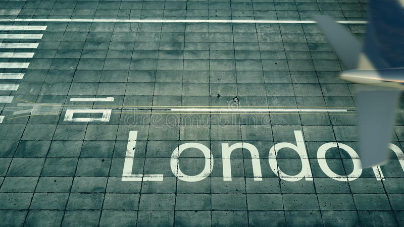 Aerial view of an airplane arriving to London airport. Travel to United Kingdom 3D rendering stock illustration