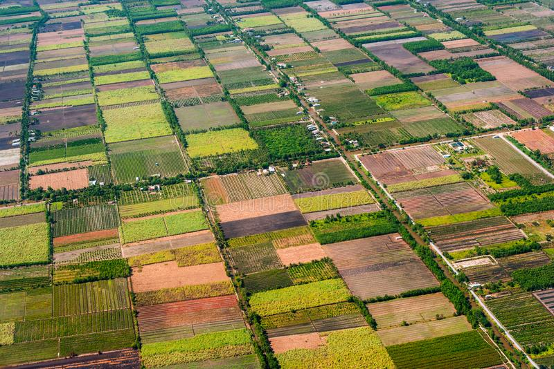 Aerial view from an airplane to fields and gardens stock photo