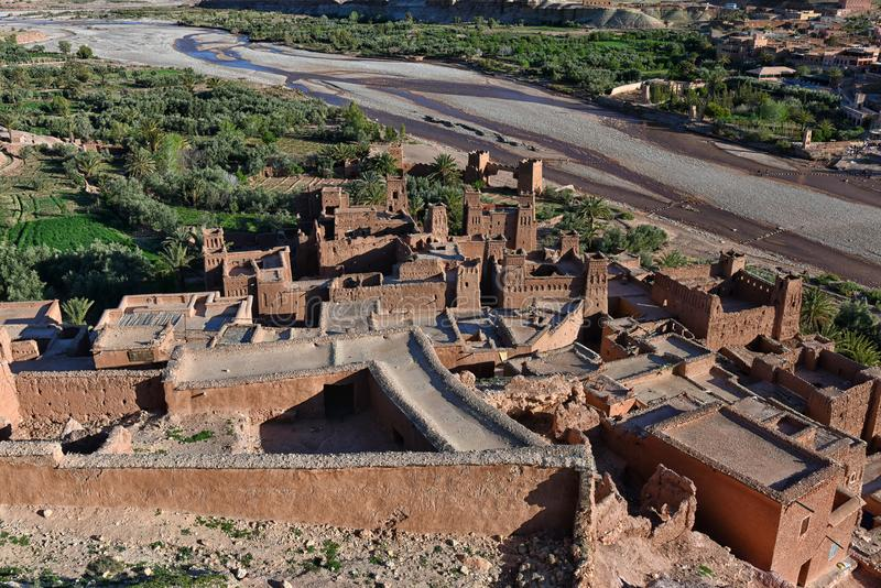 Aerial view of Ait Ben Haddou kasbah, Morocco royalty free stock photos
