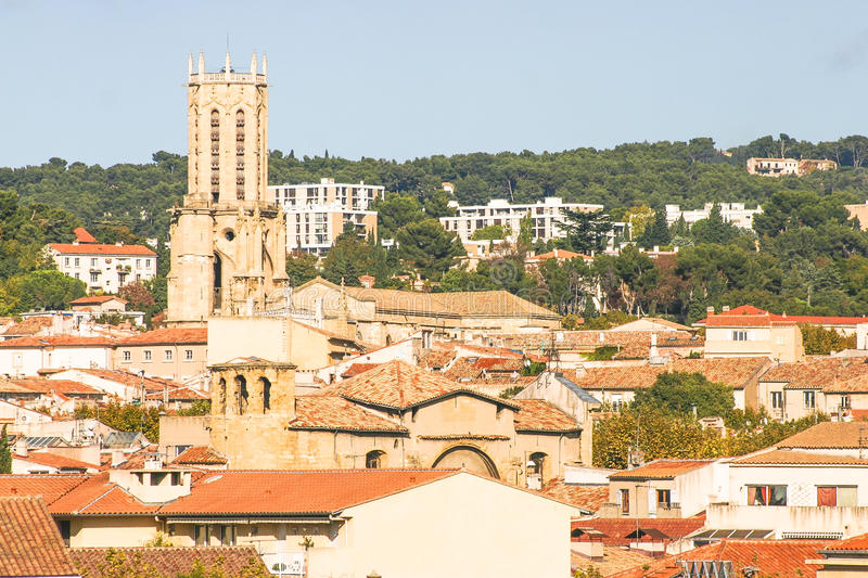 Aerial view of Aix-en-Provence, France stock image