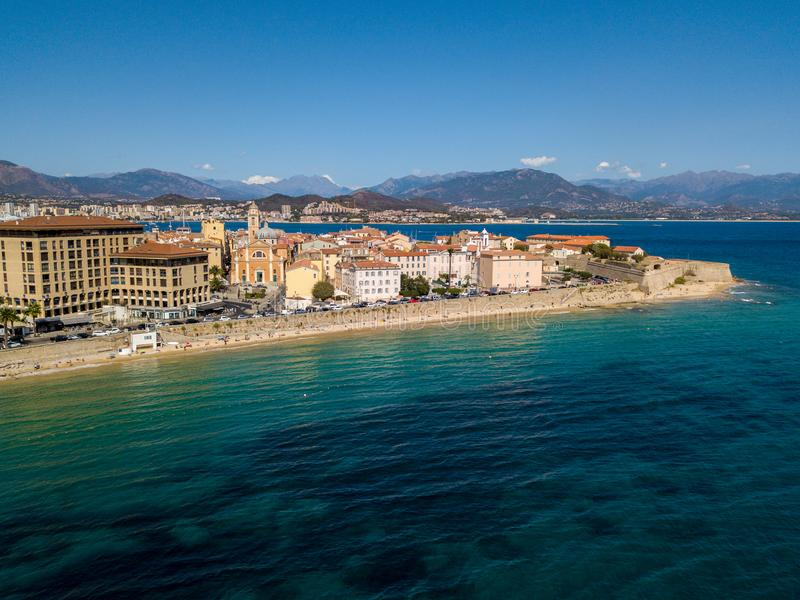 Aerial view of Ajaccio, Corsica, France. The harbor area and city center seen from the sea stock photography