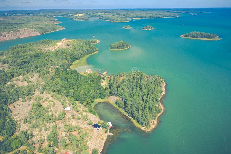 Aerial view of Aland Islands at summer time. Finland. The Archipelago. Photo made by drone from above. Nordic Natural Landscape.  royalty free stock image