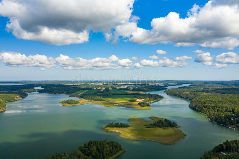 Aerial view of Aland Islands at summer time. Finland. The Archipelago. Photo made by drone from above. Nordic Natural Landscape.  stock photo