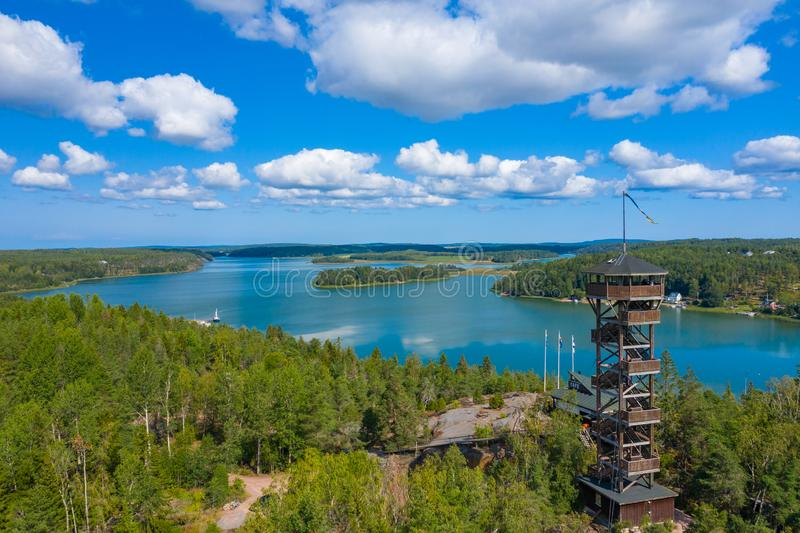 Aerial view of Aland Islands at summer time. Finland. The Archipelago. Photo made by drone from above. Nordic Natural Landscape.  royalty free stock photo
