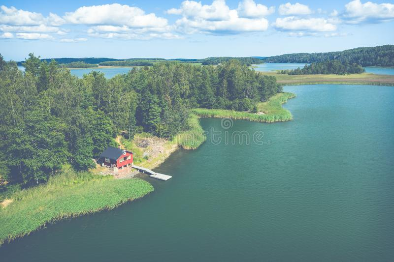 Aerial view of Aland Islands at summer time. Finland. The Archipelago. Photo made by drone from above. Nordic Natural Landscape.  royalty free stock images