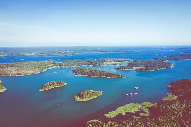 Aerial view of Aland Islands at summer time. Finland. The Archipelago. Photo made by drone from above. Nordic Natural Landscape.  stock photos
